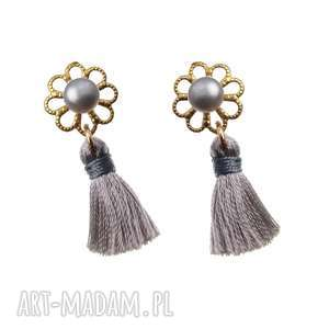 kolczyki perła kwiat chwosty srebro 925, kolczyki, perła, kwiat