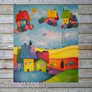 paulina lebida bajkowe miasteczko-obraz akrylowy formatu 50/60 cm, obraz, koty