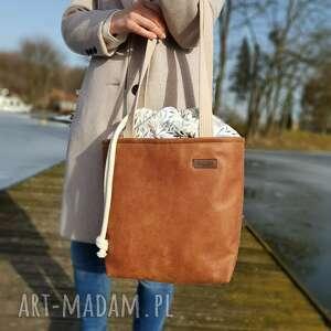 handmade na ramię duża torba z kominem - rudy brąz