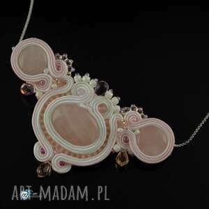 Delikatny ślubny naszyjnik z kryształkami - ,ślub,panna,wisiorek,sutasz,soutache,