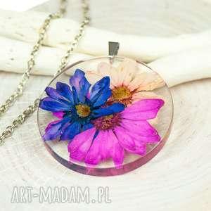 naszyjnik z suszonymi kwiatami, herbarium jewelry, rośliny w żywicy z207 - kwiaty