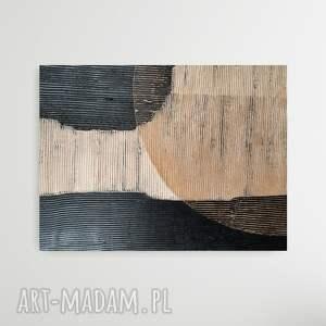 artistico - wielkoformatowy obraz na płótnie abstrakcyjny art, kremowy