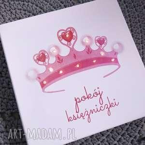 handmade pokoik dziecka świecący obraz led z koroną pokój księżniczki