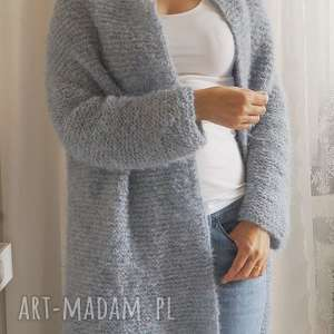 ręcznie wykonane swetry niebieski kardigan