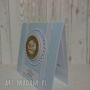 Zaproszenie / kartka gołąbek/hostia w odcieniach błękitu, komunia, chrzest, hostia