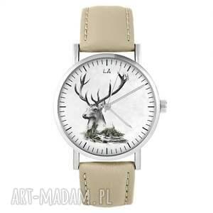 liliarts zegarek - jeleń skórzany, beżowy, zegarek, pasek