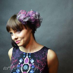ozdoby do włosów kwiatki, spinki, fiolet, fioletowy, ślub