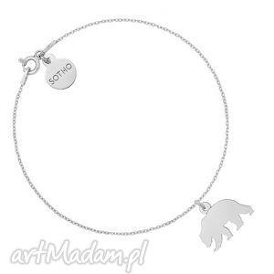 srebrna bransoletka z niedźwiedziem - łańcuszkowa niedźwiedź