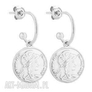 srebrne kolczyki z monetami sotho - półkola, srebro925, sztyfty