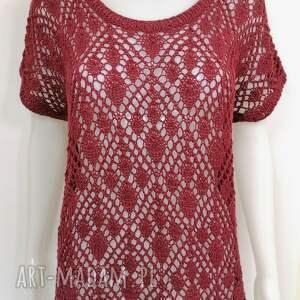 bluzki ażurowa bluzeczka bawełniana na lato, ażurowa, bawełna, bordowy