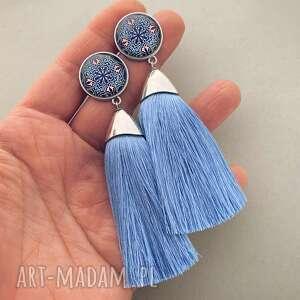 kolczyki hania, baby blue, z chwostami, na wesele, prezent, frędzle