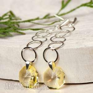 a594 długie srebrne kolczyki z żółtymi kryształami, srebrne