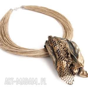 handmade naszyjniki kobiecy artystyczny naszyjnik lniany