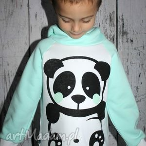 la cle bluza z kapturem - miętowa panda 98-116 , bluza, kaptur, stójka, bluzka dla