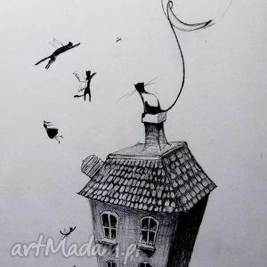 Rysunek piórkiem KOTY artystki plastyka Adriany Laube, koty, dom, księżyc, kamienica