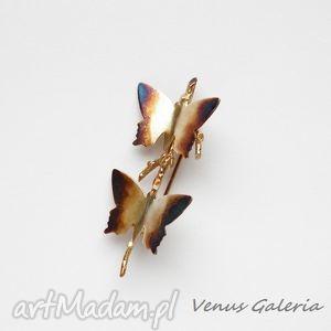 Broszka srebrna - Butterfly brown, biżuteria, srebro, broszki