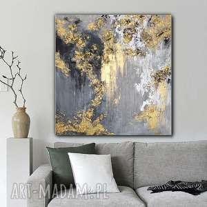 """kopalnia złota"""" obraz do salonu - ręcznie malowany - abstrakcyjny - prezent"""