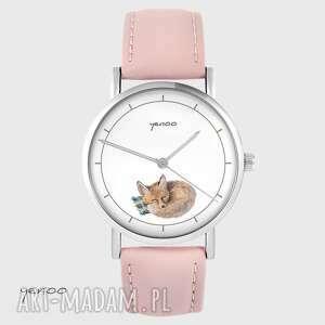 zegarek yenoo - lisek skórzany, pudrowy róż, zegarek, pasek, lis