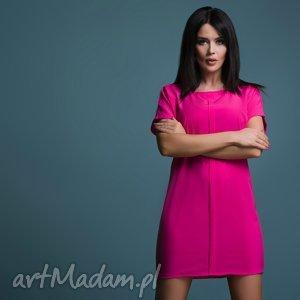 hand-made sukienki sukienka szyfonowa t166, ciemnoróżowa