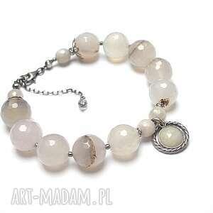 winter sapphire - bransoletka, srebro oksydowane, agat, kamień księżycowy