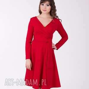sukienki adel sukienka z kopertowym dekoltem, czerwona, sukienka, lalu