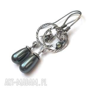 perle green, srebro, perły, hematyt, swarovski kolczyki biżuteria