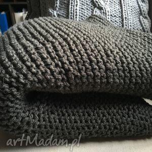 koc, gruby pled grafit 130x160 cm - koc, pled, wełna, handmade, knit