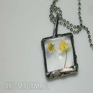 szklane roślinne terrarium, wisior, miedziany unikalna biżuteria