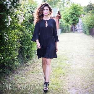 Luźna sukienka z pomponami, pompony, jersery, wygodna