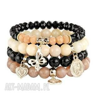 bransoletki black, salmon brown set , jadeit, kryształki, motylek, serce biżuteria