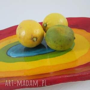tęczowa mega kolorowa patera, talerz, ozdobny, dekoracyjny, artystyczny, ceramiczny