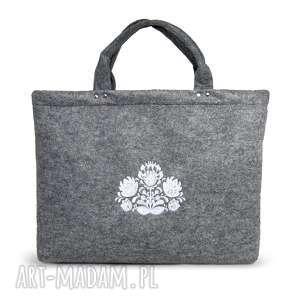 Torba na laptopa z wzorem ludowym, haft ehomi torba, haft, filc