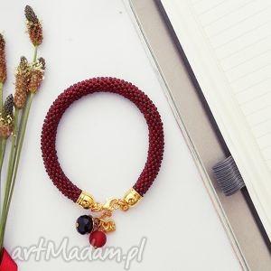 prezent na święta, lady in red, bransoletka, koralikowa, zkoralików, beading