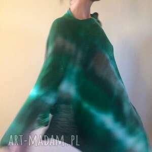 wełniane ponczo lasem malowane, ponczo, sweter, narzutka, wełna, one size