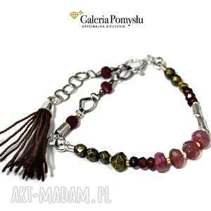 Bransoletka z rubinami i pirytem, bransoletka, kamienie, chwost, rubin, piryt, granat