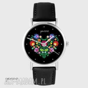 Zegarek - folkowe serce, czarne skórzany, czarny zegarki yenoo