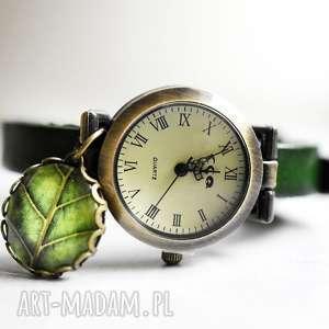 zegarek z prawdziwej skóry liść - skórzany, zieleń