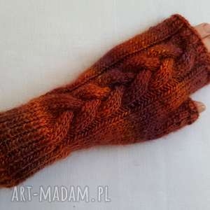 Brązowy melanż rękawiczki izabelaart1 kolorowe, ciepłe,