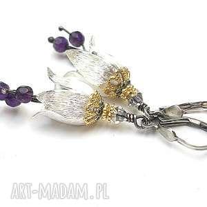 Leśne dzwonki - ametystowe, srebro, ametysty, kwiaty, romantyczne, swarovski