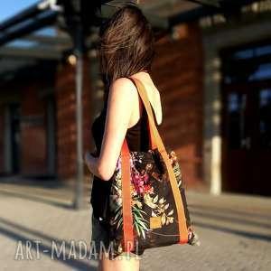 na ramię torebka worek flowers, codzienna, w kwiaty
