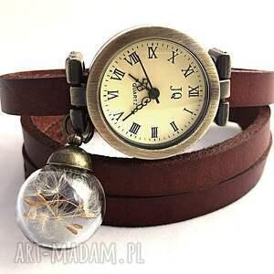 nasiona dmuchawca - zegarek bransoletka na skórzanym pasku, zegarek,