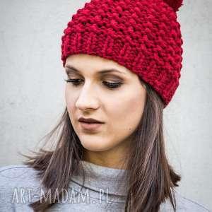czapka handmade z pomponem, czapka, wełna, wełniana, na drutach