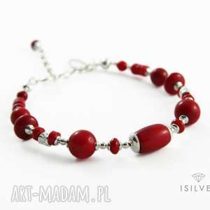 bransoletka z koralem w srebrze, bransoletka, koral, elegancka, czerwona