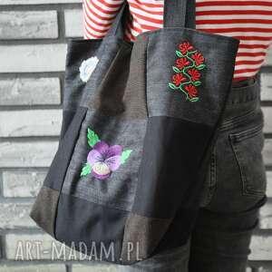 unikalny, patchworkowa z haftem 2, patchwork, haft, jeans torebki