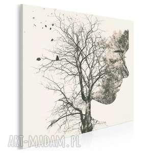 obraz na płótnie - drzewo gałęzie twarz w kwadracie 80x80 cm 67702