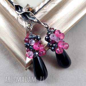 oryginalny prezent, bawangarda onyks i granat w srebrze, kobiece, grona, eleganckie