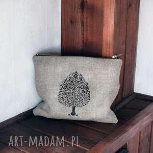Kosmetyczka etui lniane z orientalnym wzorem Bodhi tree, len, kosmetyczka-mała