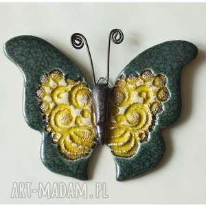 motyl zielony, ceramika, motyl