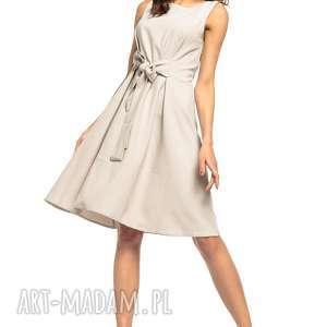Letnia sukienka wiązana z imitacji lnu, T280, jasnoszary, letnia, sukienka,