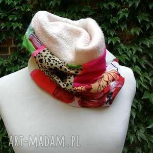 ręcznie wykonane kominy komplet damski kolorowy zimowy komin i czapka